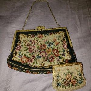 1920's Petit Point Handbag and Change Purse